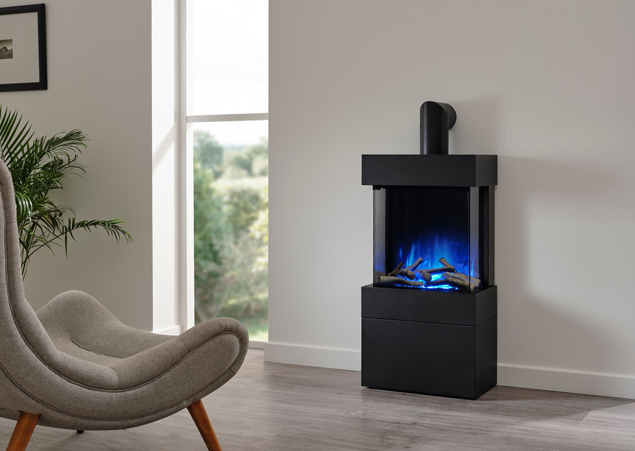 Luca 450 freestanding with log box blue