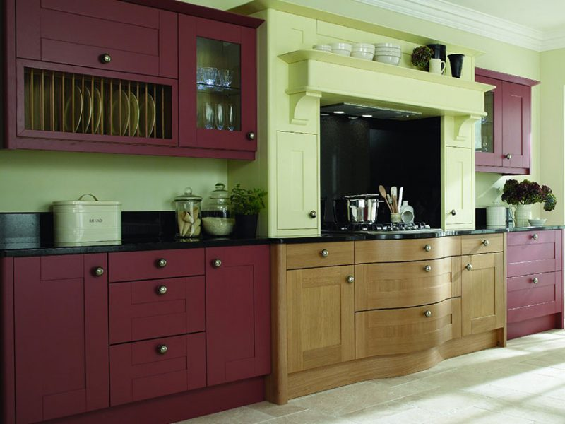 Broadoak In Cranberry, Oak and Alabaster