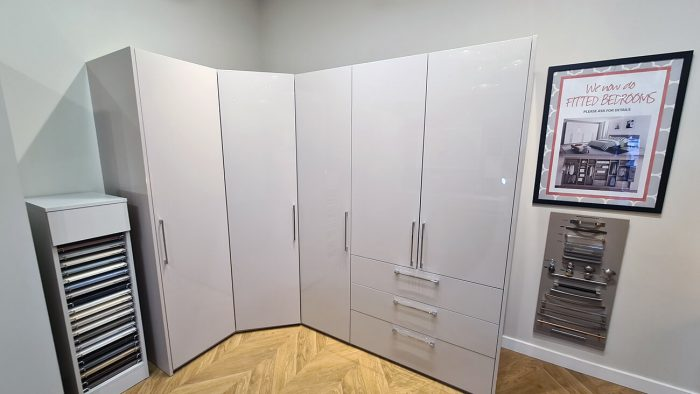 New completed bedroom by Helmanis and Howell Teeside Closet with shoes, drawers, shelves